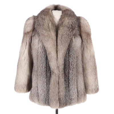 Full Skin Platinum Fox Fur Jacket by Zinman Furs