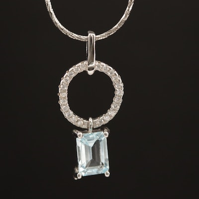 Sterling Silver Blue Topaz and Cubic Zirconia Pendant Necklace