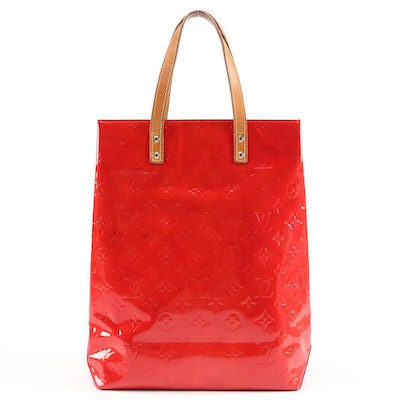 Louis Vuitton Reade MM Tote in Red Monogram Vernis and Vachetta Leather