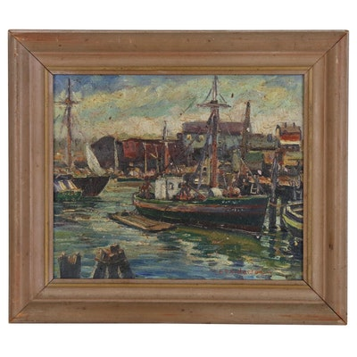 "Emily D. Anderson Harbor Scene Oil Painting ""The Colorful 'Fort' """