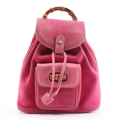 Gucci Bamboo Pink Suede and Textured Leather Backpack Purse