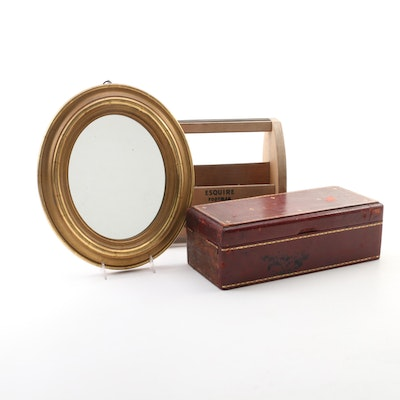 Borghese Gilt  Oval Mirror, Florentine Leather Box and Caddy, Mid 20th Century