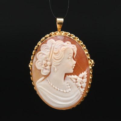 Gennaro Boriello Carved Shell Cameo Converter Brooch