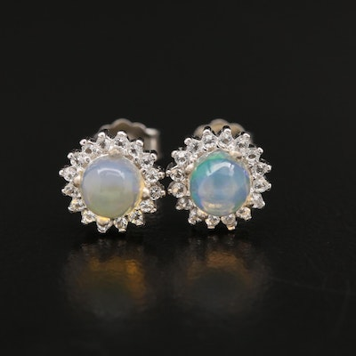 Sterling Opal and White Topaz Halo Stud Earrings