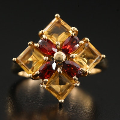10K Citrine and Garnet Quatrefoil Ring