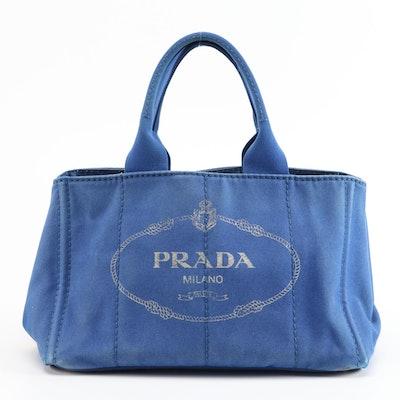Prada Blue Canapa Canvas Tote Bag