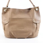 Burberry Blue Label Taupe Brown Grained Leather Shoulder Bag