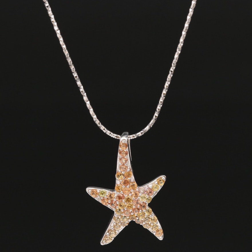 Sterling Silver Sapphire Starfish Pendant Necklace