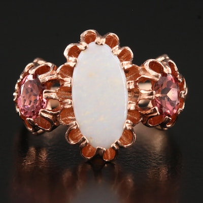 1944 9K Rose Gold Opal and Pink Tourmaline Ring