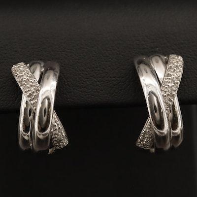 Sterling Silver Diamond Half Hoop Earrings