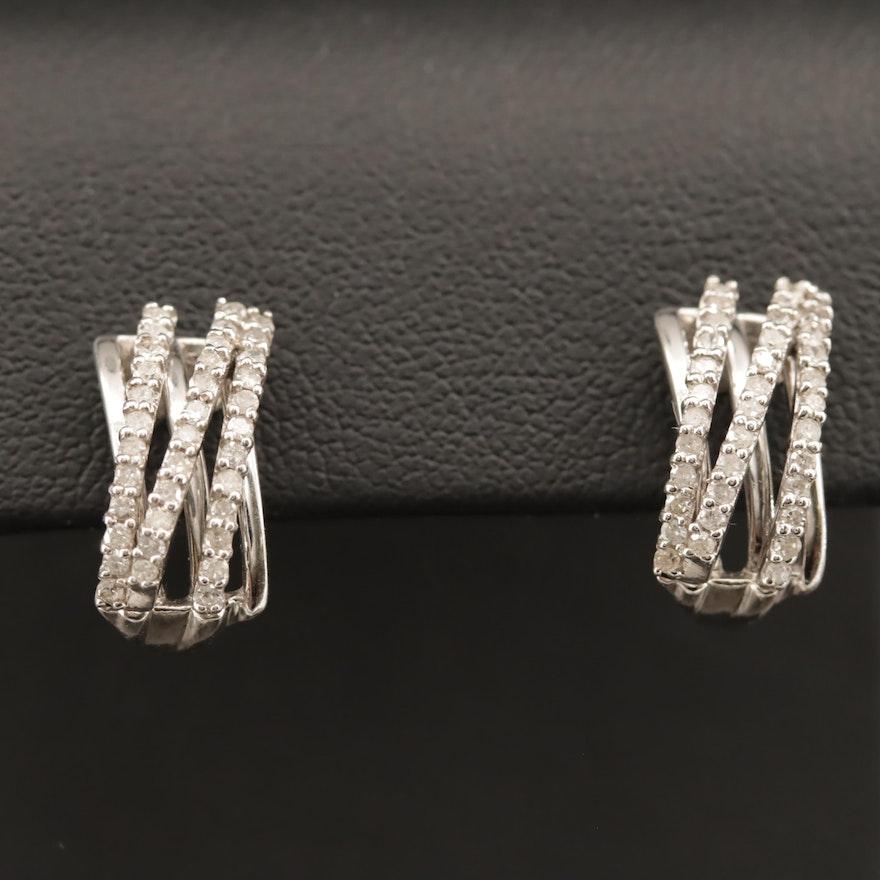 Sterling Silver Diamond J-Hoop Earrings