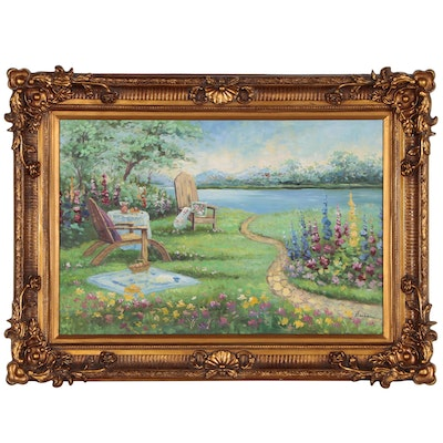 Impressionist Style Oil Painting of Garden Scene, 21st Century
