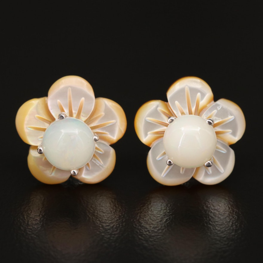 Sterling Silver Opal and Mother of Pearl Flower Stud Earrings