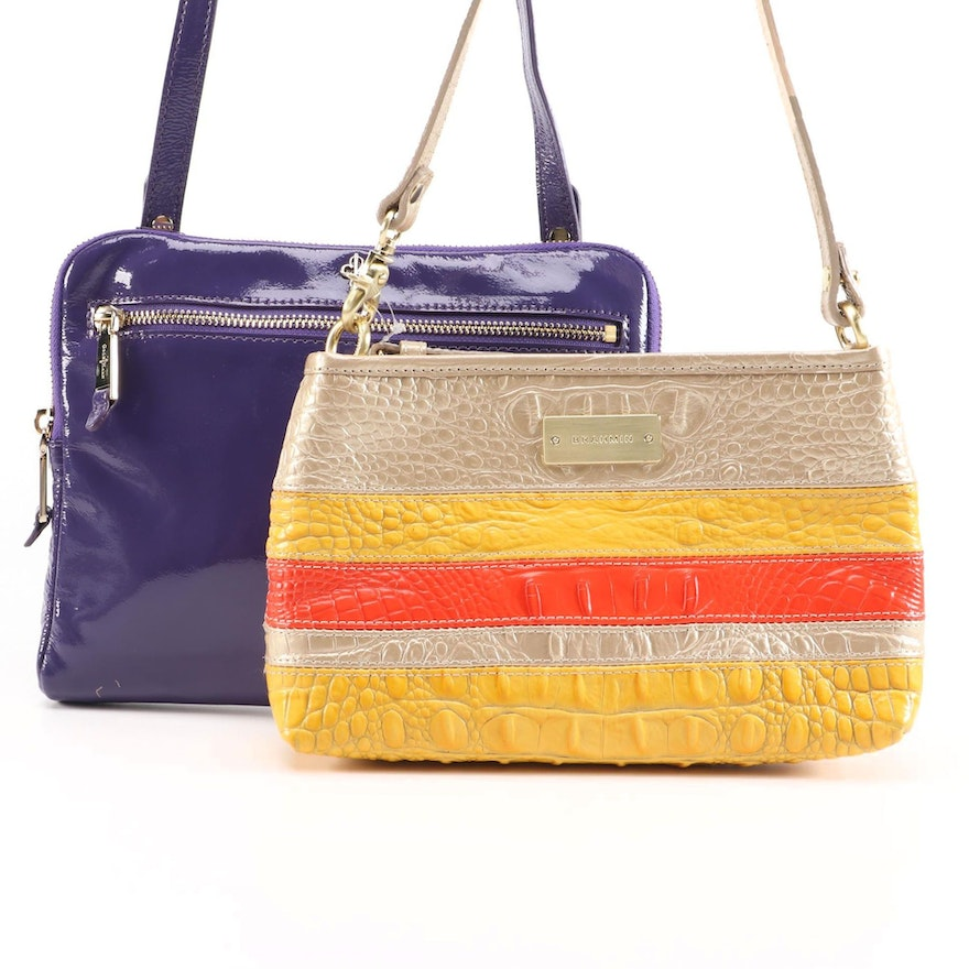 Brahmin Anytime Mini in Fizz Vineyard and Cole Haan Jitney Patent Leather Bag
