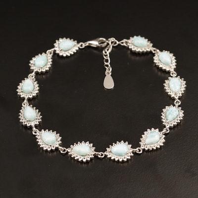 Sterling Silver, Larimar and Topaz Link Bracelet
