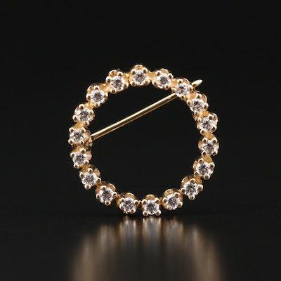 14K Cubic Zirconia Circle Brooch