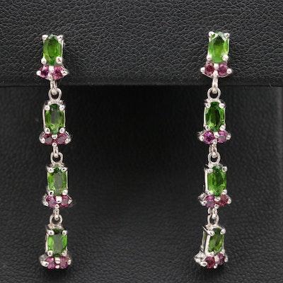 Sterling Silver Diopside and Rhodolite Garnet Dangle Earrings