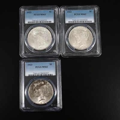 Three PCGS Graded Mint State 1923 Peace Silver Dollars