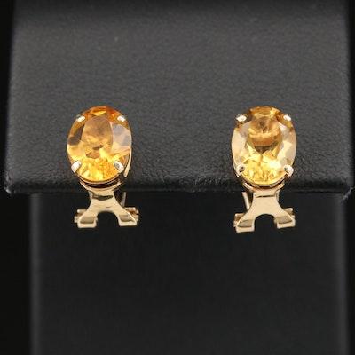 14K Citrine Clip Earrings