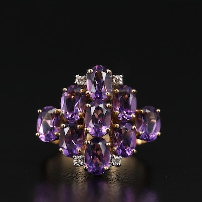 10K Amethyst Cluster Ring with Diamond Accents