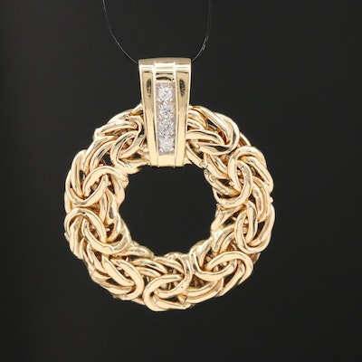 14K Diamond Byzantine Link Circle Slide Pendant