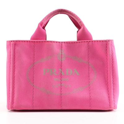 Prada Canapa Pink Canvas Large Logo Print Two-Way Tote