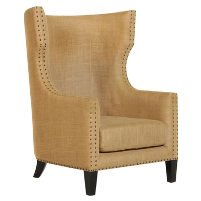 Burlap Upholstered Wing Back Armchair With Nailhead Trim