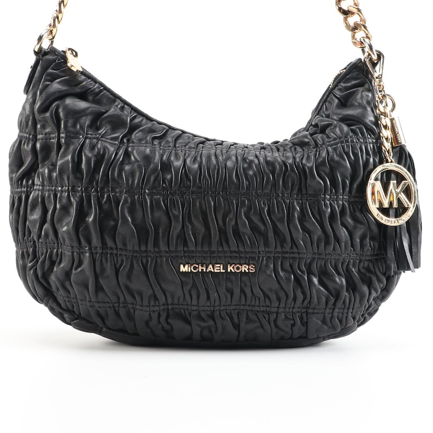 MICHAEL Michael Kors Black Ruched Leather Hobo Bag