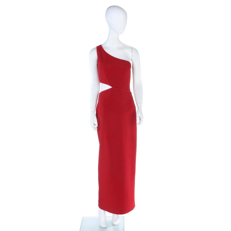 a.b.s Evening Collection Red One Shoulder Cut-Out Evening Dress