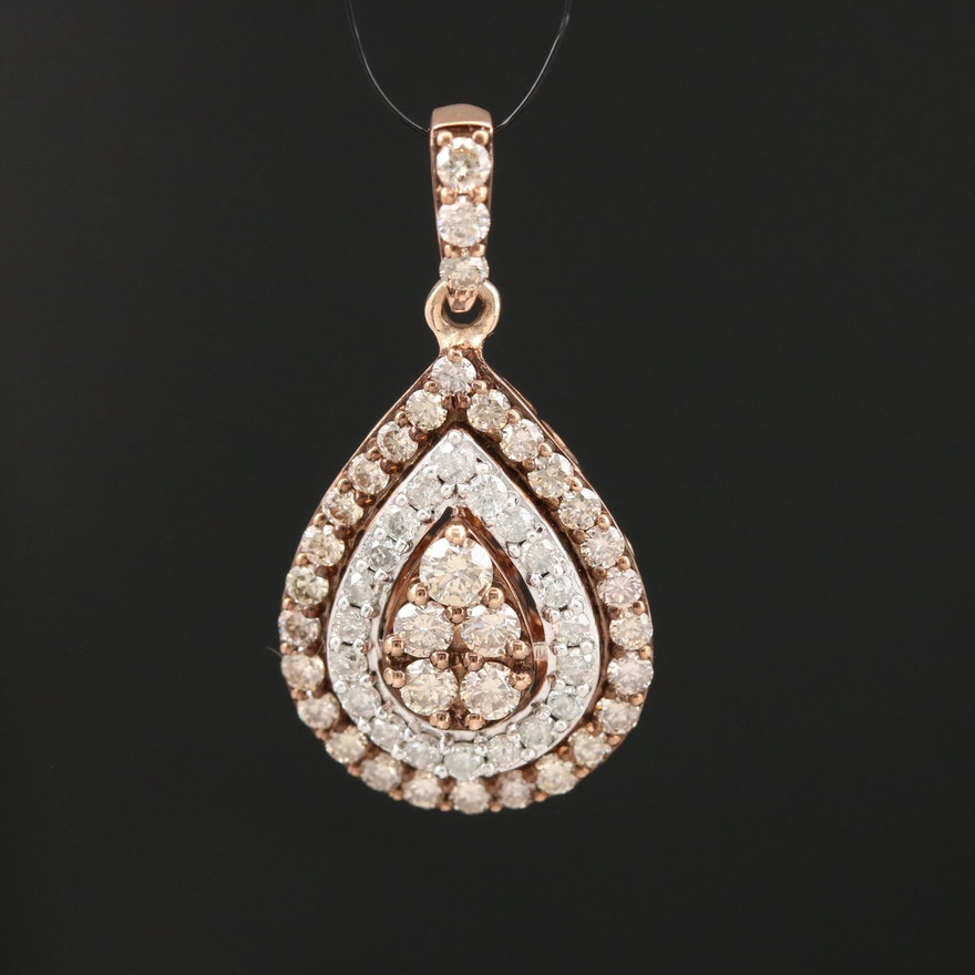 10K Rose Gold 1.22 CTW Diamond Teardrop Pendant