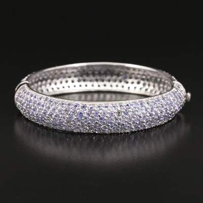 Sterling Tanzanite Hinged Bangle Bracelet
