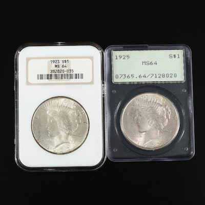 NGC & PCGS Graded MS64 1923 and 1925 Peace Silver Dollars