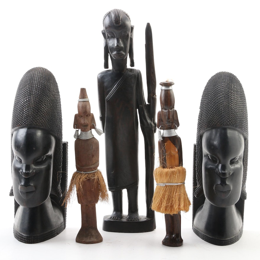 Maasai Ebony Warrior Figure, East African Ebony Bookends, and Carved Figures