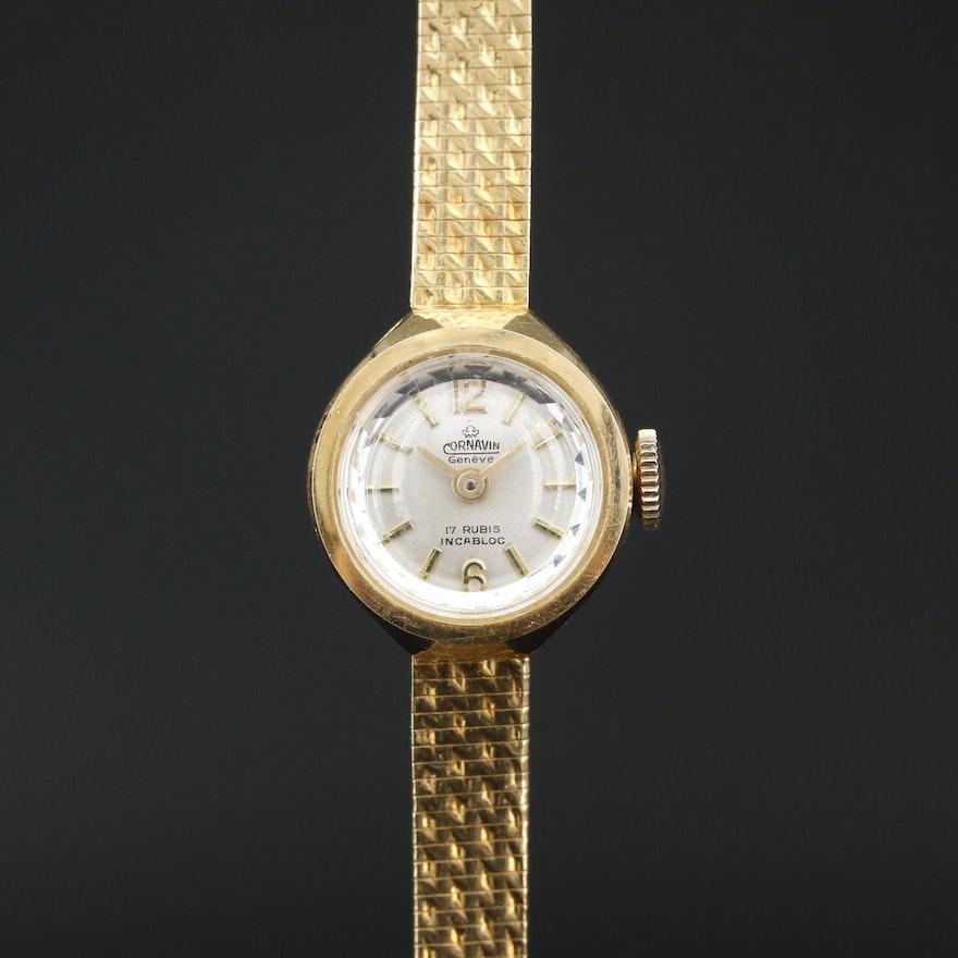 Cornavin Geneve 18K Gold Stem Wind  Wristwatch