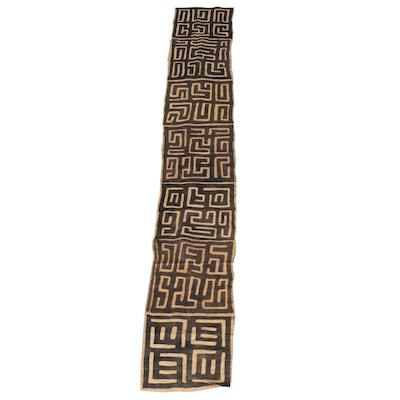African Handwoven Kuba Cloth Raffia Textile Wrapper, 20th Century