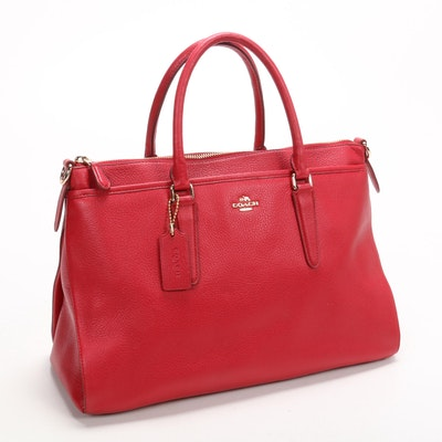 Coach Morgan Satchel in Red Pebble Grain Leather
