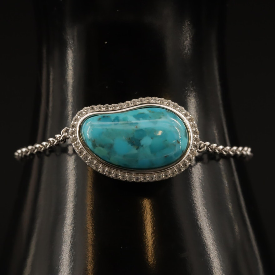 Sterling Silver Turquoise and White Sapphire Bracelet