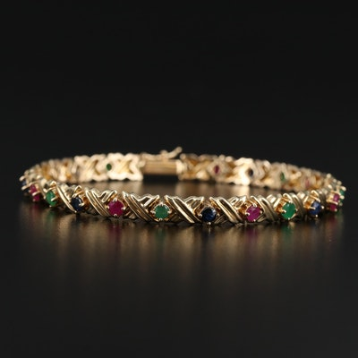 14K Ruby, Sapphire and Emerald 'X' Link Bracelet