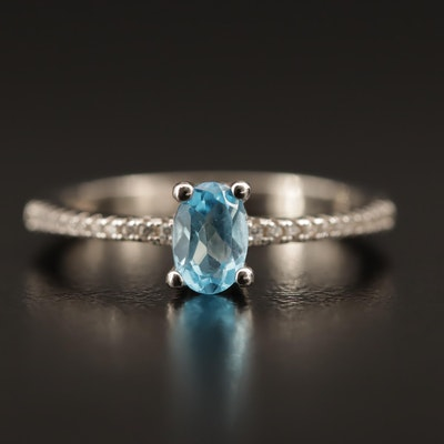 Sterling Silver Blue Topaz and Quartz Ring