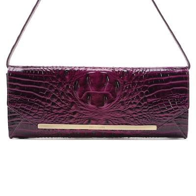 Brahmin Alexis Croc-Embossed Leather Shoulder Bag in Dark Iris Melbourne