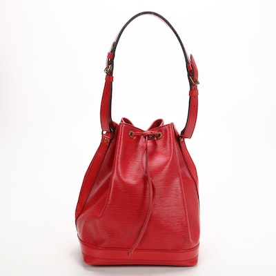 Louis Vuitton Noé Bucket Bag in Red Epi and Smooth Leather