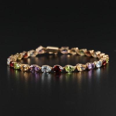 14K Mixed Gemstone Line Bracelet