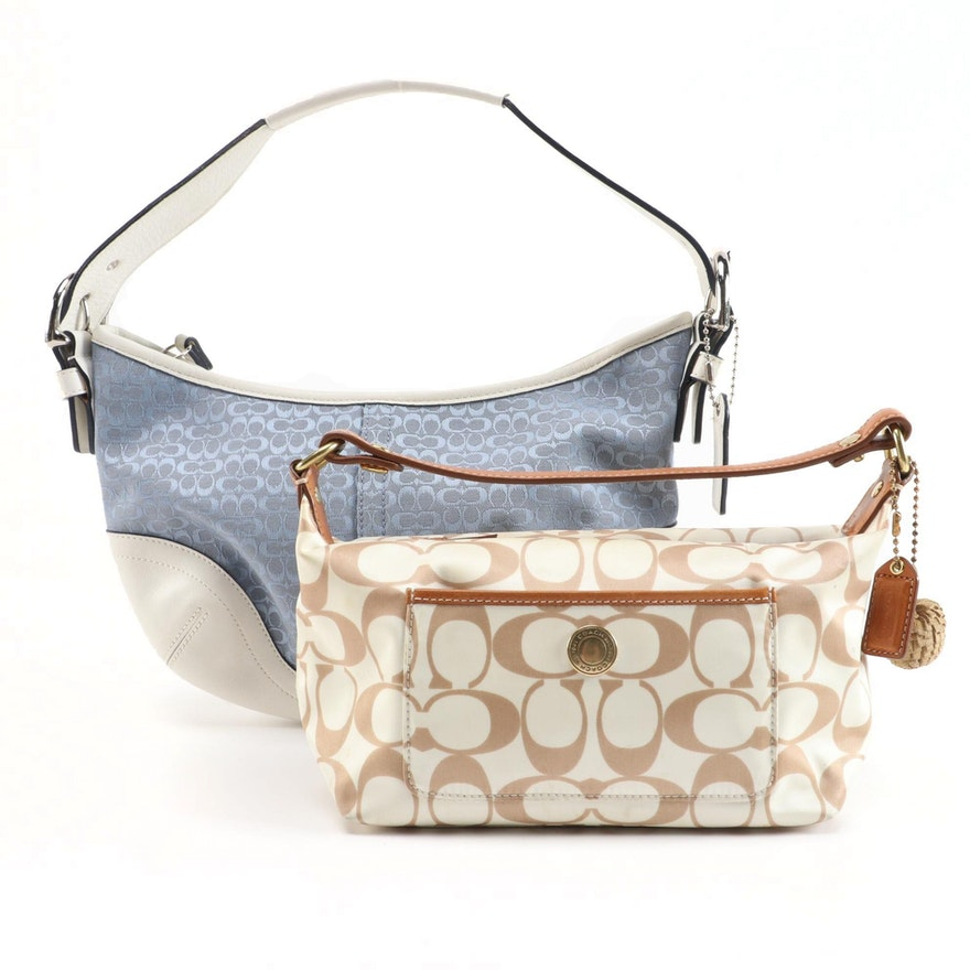 Coach Soho Small in Signature Canvas and Signature Sateen Bag with Leather Trim