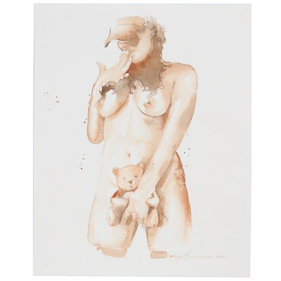 Inga Khanarina Watercolor Painting Female Nude with Teddy Bear, 2020