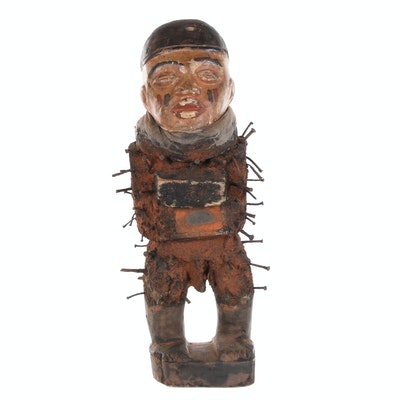Kongo-Yombe Style Polychrome Nkisi N'Kondi Power Figure, Late 20th Century