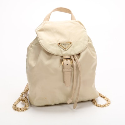 Prada Backpack Purse in Ivory Tessuto Nylon with Chain and Leather Straps