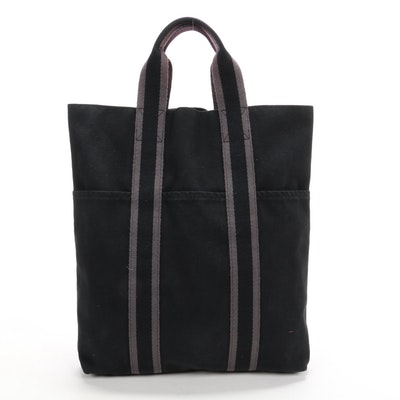 Hermès Paris Fourre Tout Cabas Tote in Black Canvas