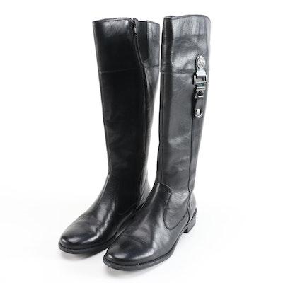 Anne Klein Craslee Black Leather Knee-High Boots
