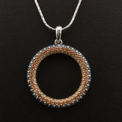 Sterling Silver Sapphire and Citrine Circle Pendant Necklace