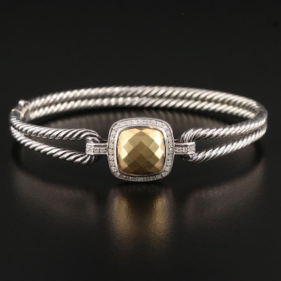 """David Yurman """"Albion"""" Sterling Silver Diamond Bangle with Faceted 18K Accent"""